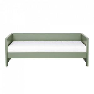 Cadru pat verde din lemn de pin 100x208 cm Nikki Pine Green Woood