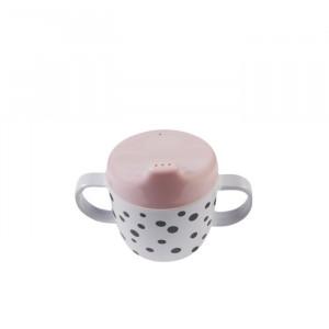 Cana roz cu capac pentru bebelusi din melamina 170 ml Dots Powder Black Done by Deer