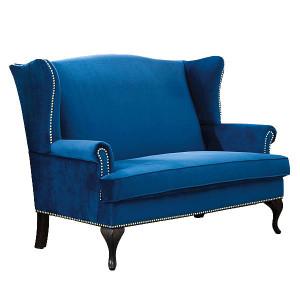 Canapea albastra din catifea si lemn 143 cm Benjamin Signal Meble