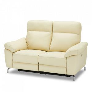 Canapea crem din piele si metal pentru 2 persoane Selesta Furnhouse