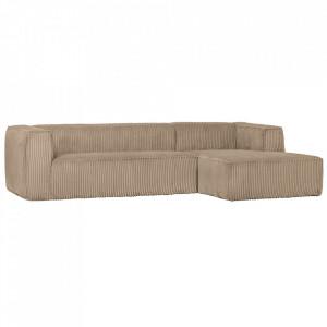 Canapea cu colt crem din poliester si lemn 305 cm Bean Hefty Right Woood