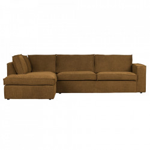 Canapea cu colt maro bronz din poliester 283 cm Freddie Left Woood