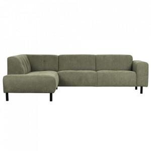 Canapea cu colt verde din poliester si lemn 275 cm Presley Left Woood