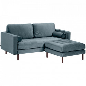 Canapea cu taburet pentru picioare turcoaz din lemn si catifea pentru 2 persoane Debra Kave Home