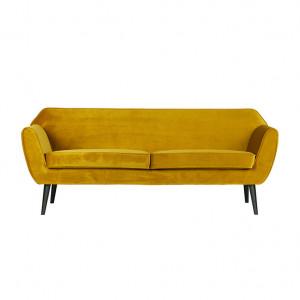 Canapea din catifea galbena Rocco Woood