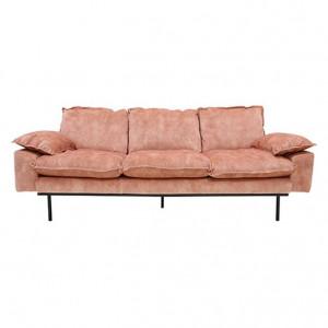 Canapea din catifea roz pentru 3 persoane Retro Old Pink HK Living