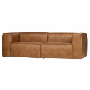 Canapea din piele maro pentru 3 persoane Bean Woood