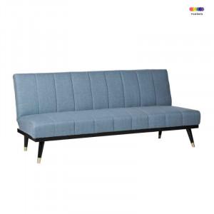 Canapea extensibila albastra din lemn de pin si poliester pentru 2 persoane Madrid Blue Somcasa
