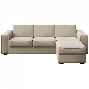 Canapea extensibila cu colt crem din poliester si lemn pentru 4 persoane Munro Mesonica