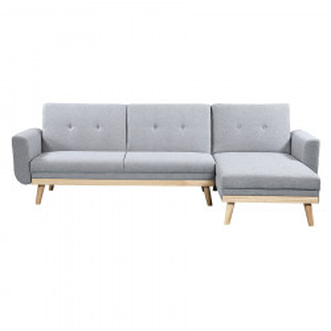 Canapea extensibila cu colt gri deschis din poliester si lemn 260 cm Skagen Invicta Interior