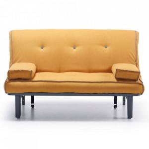Canapea extensibila galben mustar din textil si metal 145 cm Capri La Forma