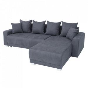 Canapea extensibila gri cu colt din bumbac si metal 255 cm Tailors Invicta Interior