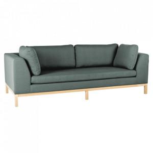 Canapea extensibila verde/maro din textil si lemn pentru 3 persoane Ambient Custom Form