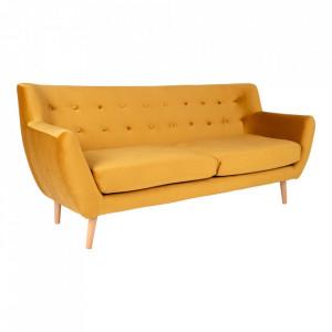 Canapea galben mustar din catifea si lemn pentru 3 persoane Monte House Nordic