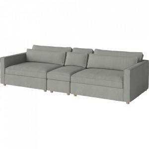 Canapea gri deschis din poliester si lemn 297 cm Aya Bolia