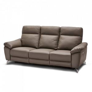Canapea gri din piele si metal pentru 3 persoane Selesta Furnhouse