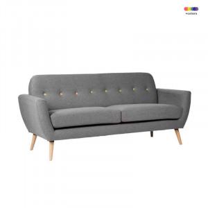 Canapea gri inchis din lemn de pin si poliester pentru 2 persoane Tokyo Dark Grey Somcasa