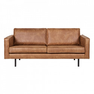 Canapea maro/neagra din piele si metal 190 cm Rodeo Cognac Be Pure Home