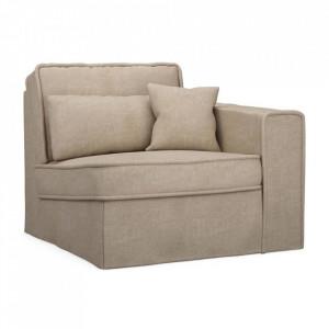 Canapea modulara bej din bumbac si lemn 104 cm Metropolis Arm Riviera Maison