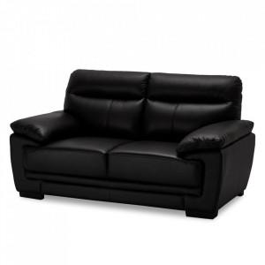 Canapea neagra din piele si metal pentru 2 persoane Siena Furnhouse