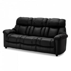 Canapea neagra din piele si metal pentru 3 persoane Malmo Furnhouse