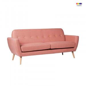 Canapea roz din lemn de pin si poliester pentru 2 persoane Tokyo Pink Somcasa