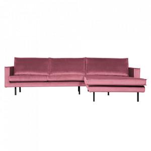 Canapea roz din poliester si metal cu colt pentru 3 persoane Rodeo Right Be Pure Home