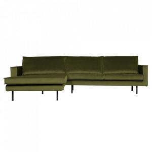 Canapea verde oliv din poliester si metal cu colt pentru 3 persoane Rodeo Left Be Pure Home