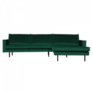 Canapea verde padure din poliester si metal cu colt pentru 3 persoane Rodeo Right Be Pure Home
