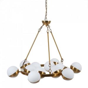 Candelabru alb/auriu din sticla si metal cu 12 becuri Portland Denzzo