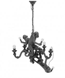 Candelabru negru din rasina cu 5 LED-uri Monkey Seletti
