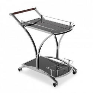 Carucior negru/argintiu din sticla si metal Service Cart Versa Home