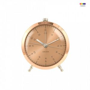 Ceas de masa maro cupru din metal 9 cm Button Present Time