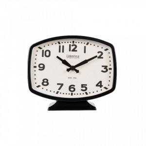 Ceas de masa negru din fier si PVC 19x23 cm Desk Black LifeStyle Home Collection