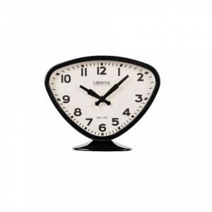 Ceas de masa negru din fier si PVC 19x23 cm Desk Black Triangle LifeStyle Home Collection