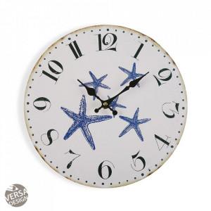 Ceas de perete rotund alb/albastru din lemn 29 cm Blue Sea Clock Versa Home