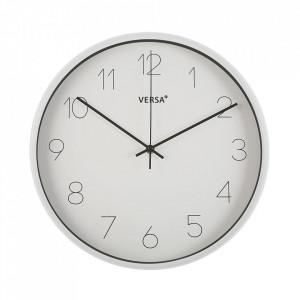 Ceas de perete rotund alb din plastic 35,4 cm Clara Versa Home