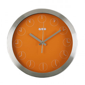 Ceas de perete rotund argintiu/portocaliu din metal 30 cm Inna Versa Home