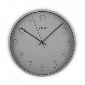 Ceas de perete rotund gri din plastic 35,4 cm Clara Versa Home