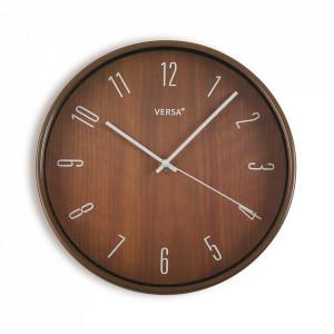 Ceas de perete rotund maro din plastic 30 cm Tiempo Versa Home