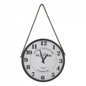 Ceas de perete rotund negru/alb din sfoara si fier 50 cm Ron HSM Collection