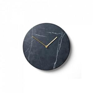 Ceas perete rotund negru din marmura si alama 30 cm Marquina Menu