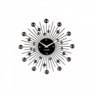 Ceas perete rotund negru din metal 30 cm Sunburst Present Time