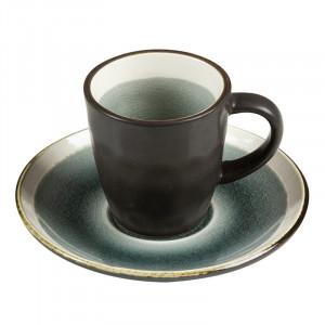 Ceasca gri cu farfurioara din ceramica Gokio Small Santiago Pons