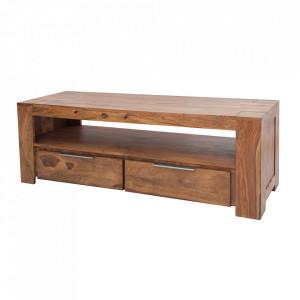 Comoda TV maro din lemn de palisandru indian 135 cm Makassar Invicta Interior