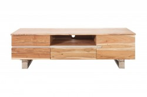Comoda TV maro din lemn de salcam si metal 160 cm Mammoth Invicta Interior