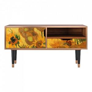 Comoda TV multicolora din MDF si lemn 114,2 cm Sunflowers By Vincent Van Gogh Sara Furny