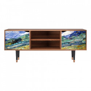 Comoda TV multicolora din MDF si lemn 170 cm Landscape From Saint-Rémy By Vincent Van Gogh Lara Furny