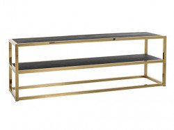 Comoda TV neagra/aurie din lemn si inox 150 cm Blackbone Unit Mini Gold Richmond Interiors