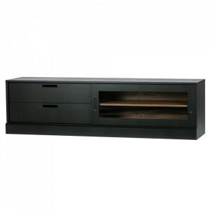 Comoda TV neagra din lemn de pin 180 cm James Woood